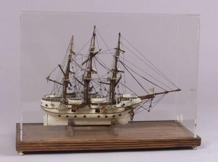 Cased Prisoner of War Ship Model