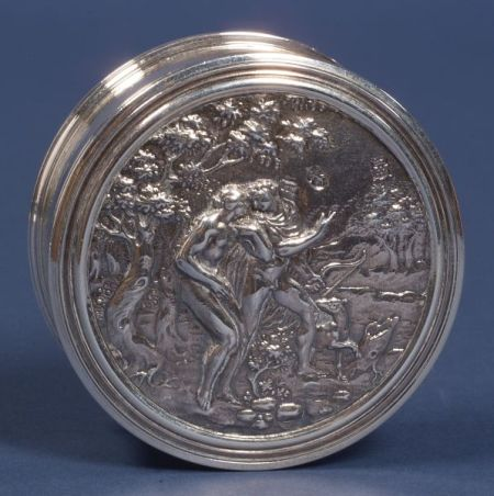 George II Silver Powder Jar with Charles II Inset-Lid