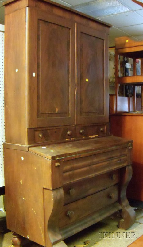 Empire Mahogany Veneer Writing Desk/Bookcase.