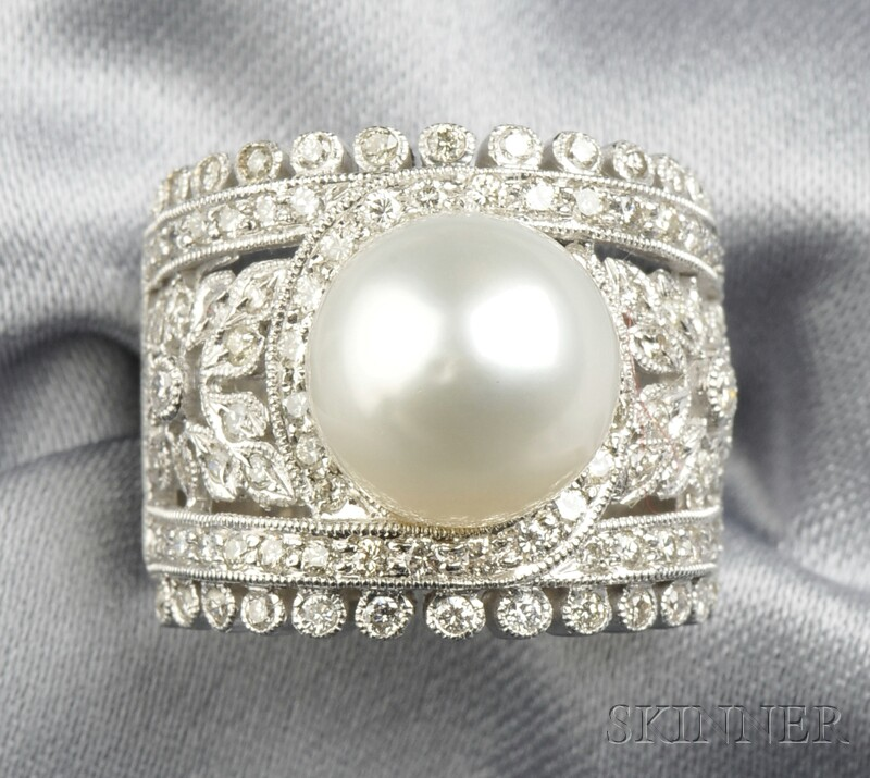 18kt White Gold, Cultured Pearl, and Diamond Ring