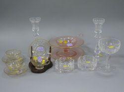 Fourteen Pieces of Assorted Decorative Glassware