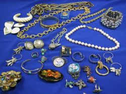 Group of Ivory and 14kt Gold Jewelry, Gold Rope Chain and Assorted Costume Jewelry.