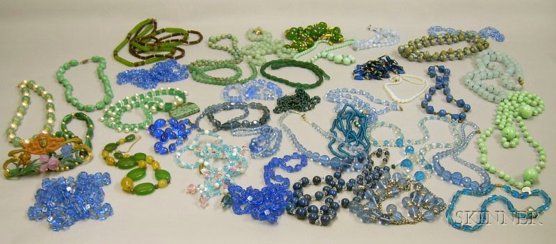 Large Group of Assorted Glass and Hardstone Beaded Necklaces.