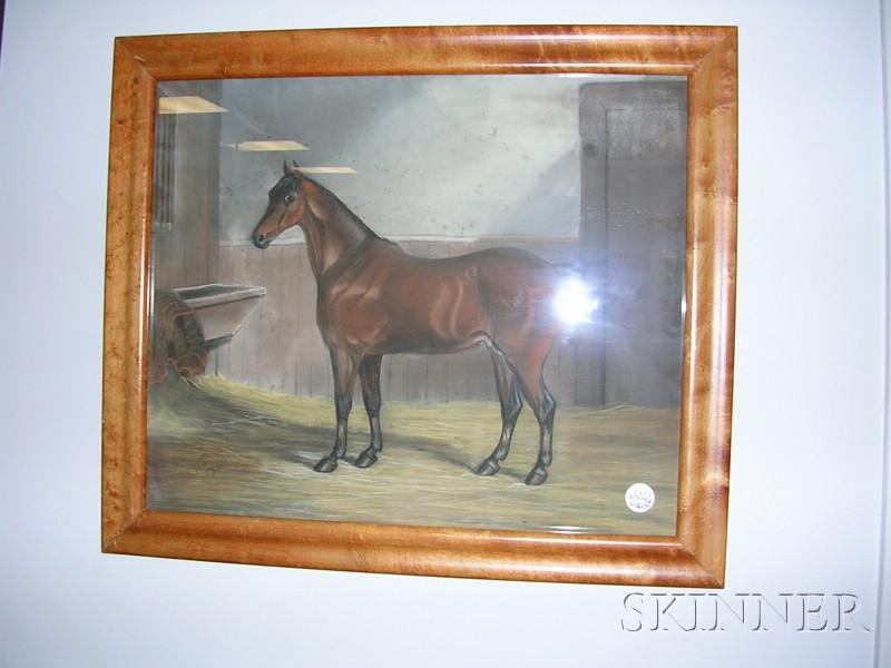 American School, 19th Century      Two Portraits of Hackney Stallions.