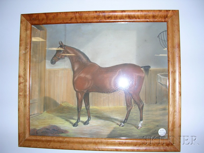 American School, 19th Century      Two Portraits of Hackney Stallions.