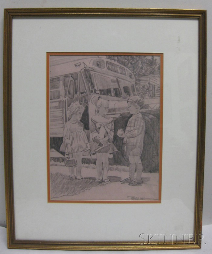 American School, 20th Century      Lot of Two Framed Pencil Drawings Signed
