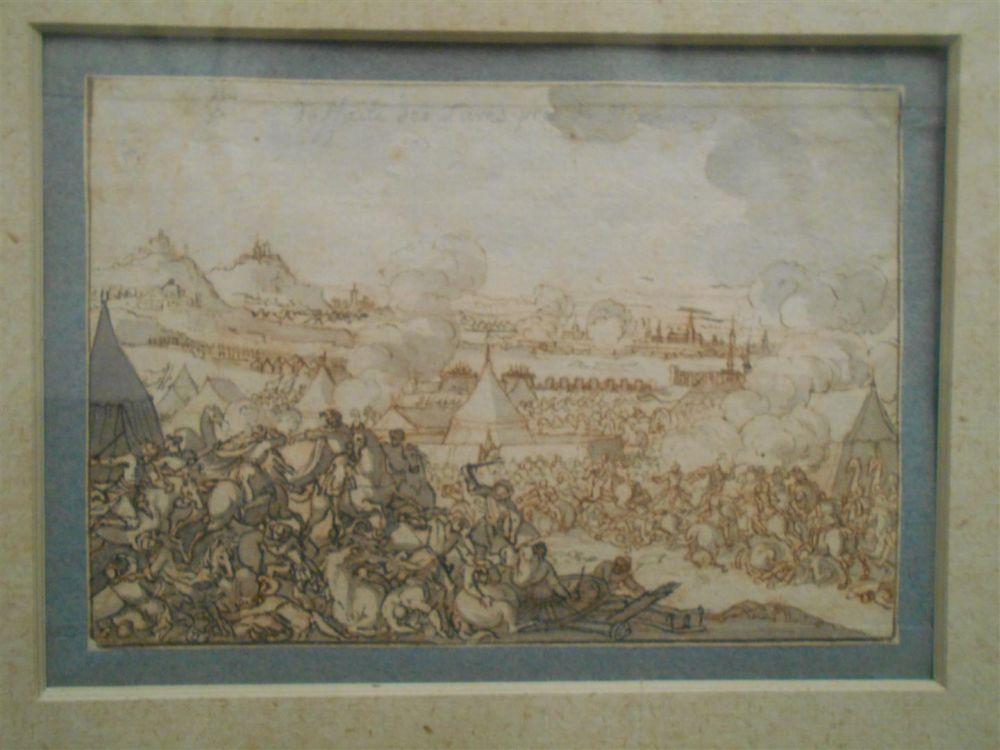 Attributed to Sébastien Leclerc (French, 1637-1714), Four Framed Drawings: Combat de Leuze, Cassel, La Bataille de Saint Godard, and De