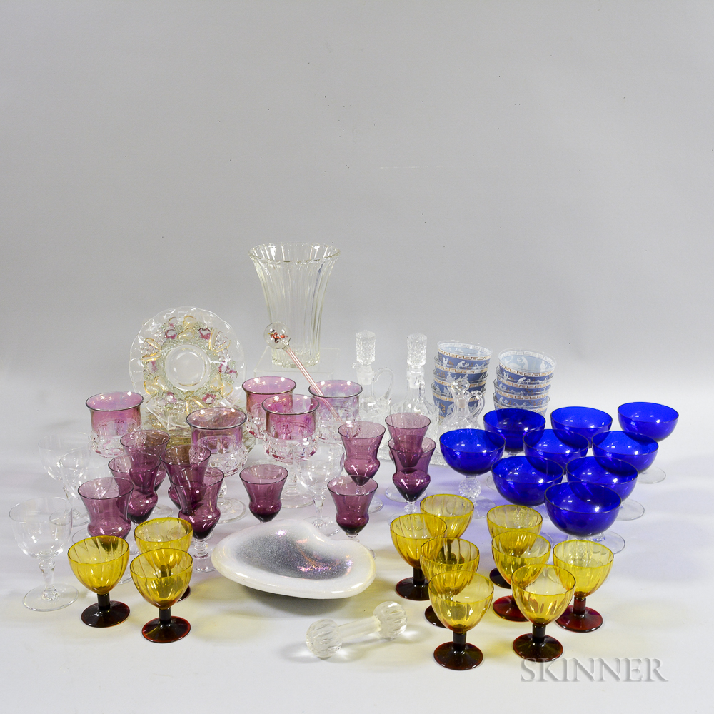 Group of Colored and Colorless Glass Stemware and Tableware.     Estimate $200-250