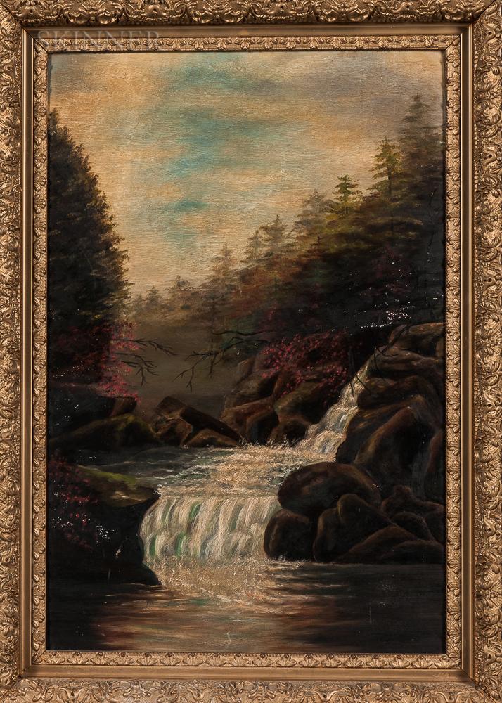 American School, 19th Century      Woodland Cascade