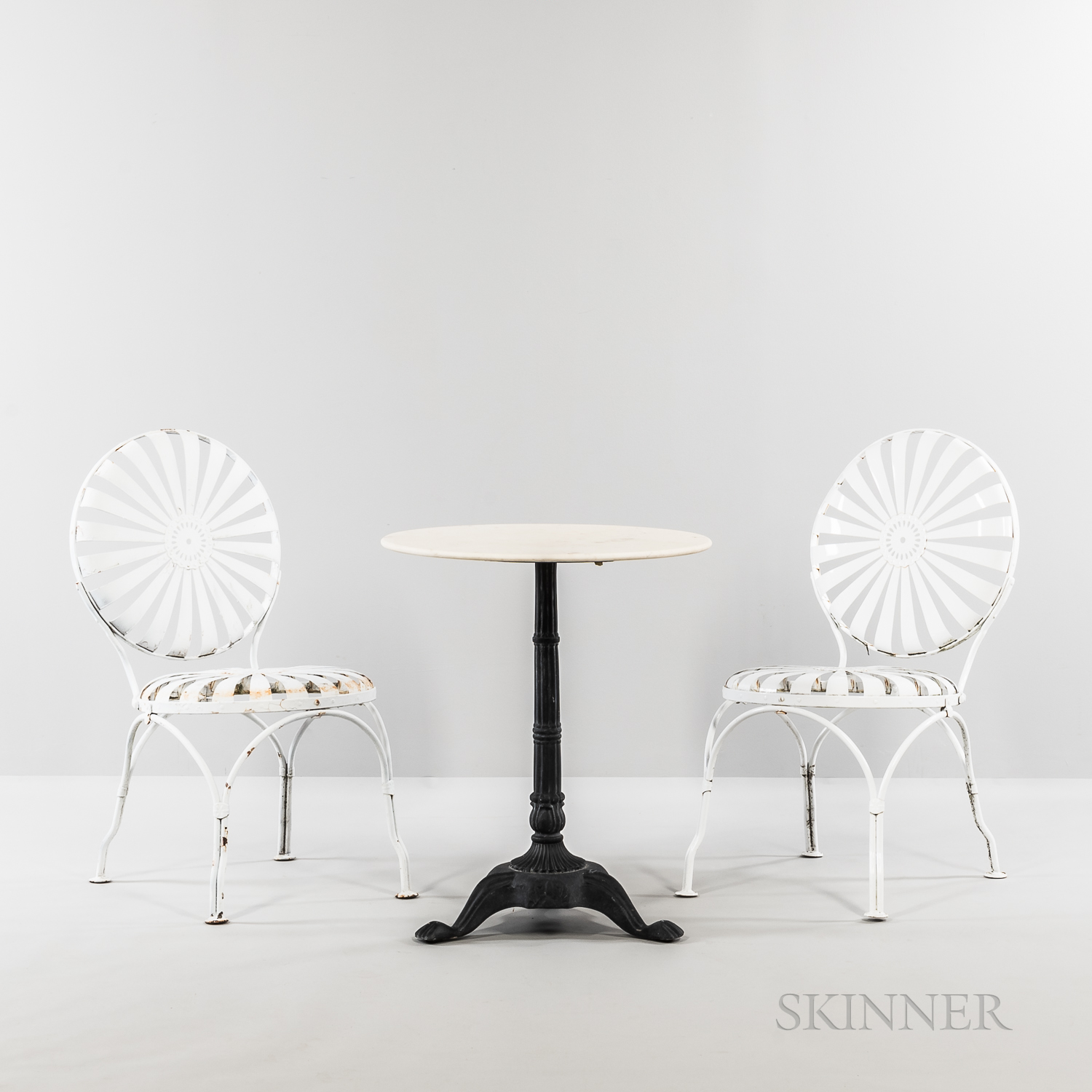 Two Francois Carre Sunburst Side Chairs and Cafe Table
