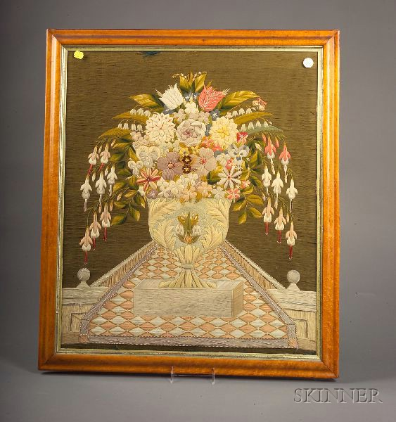 English Decorative Woolwork Picture of a Floral Still-lifeEnglish...