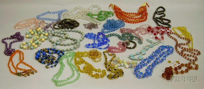 Large Group of Assorted Glass and Crystal Beaded Necklaces.
