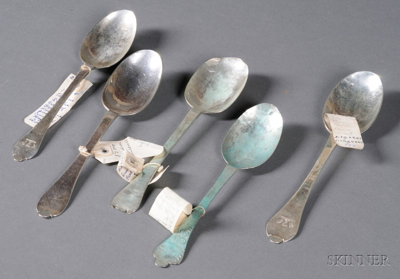 Five Early English Silver Spoons