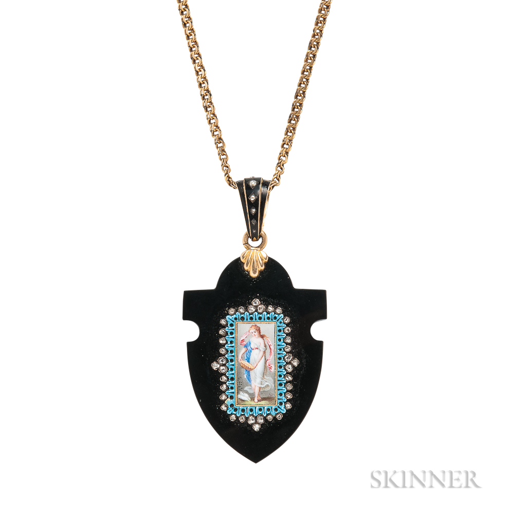 Antique Onyx, Enamel, and Diamond Pendant