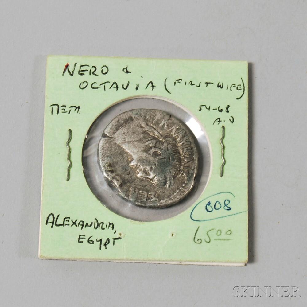 Ancient Roman Empire Silver Billon Tetradrachm Coin