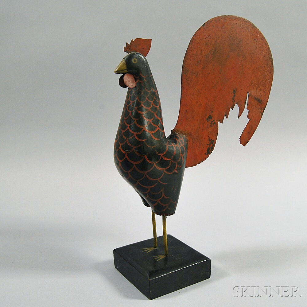 Carved and Painted Rooster Figure