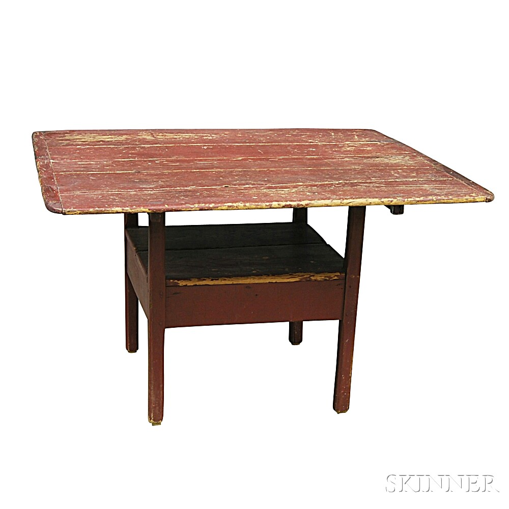 Country Red-painted Pine Square-top Hutch Table
