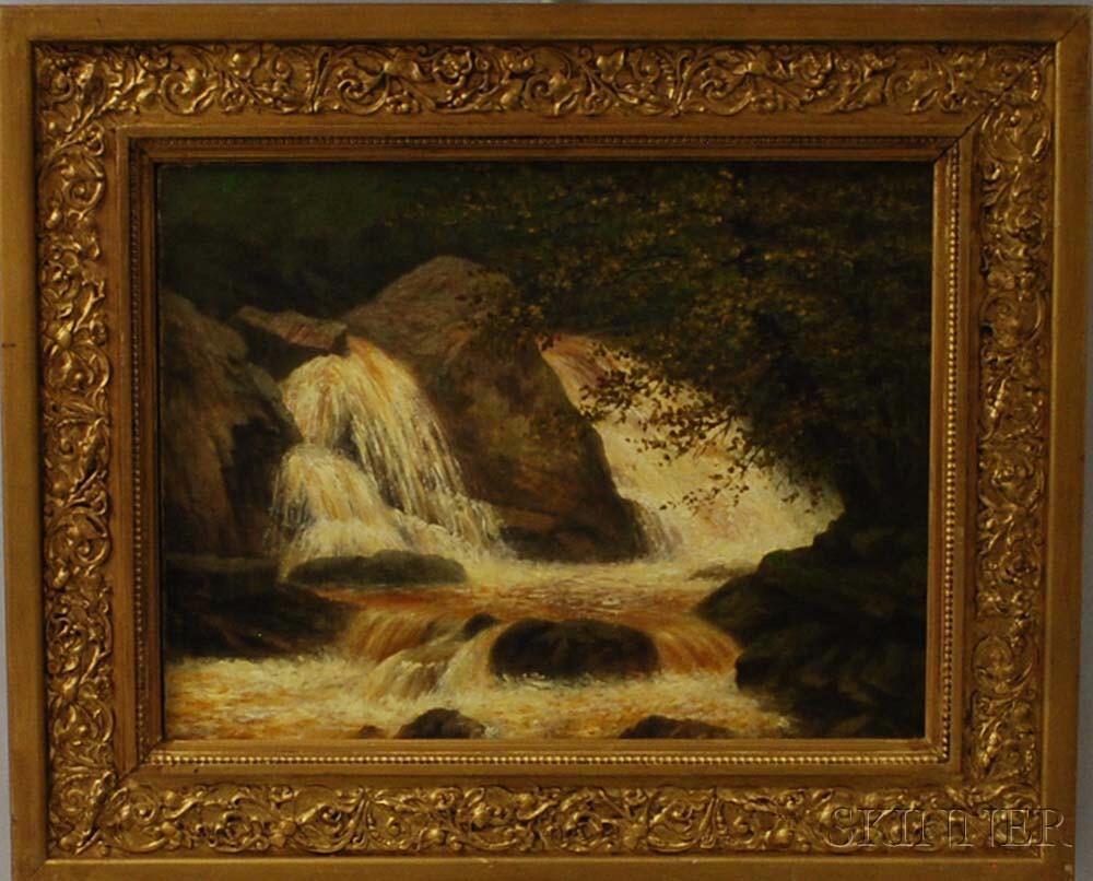 American School, 19th Century      Wooded Waterfall Scene