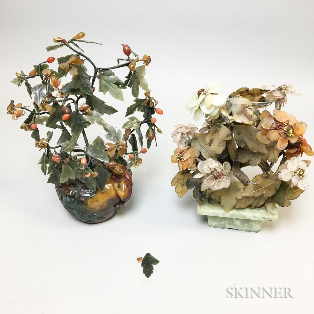 Two Hardstone Flowering Trees
