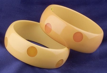 Two Bakelite Laminate Polka Dot Bangles