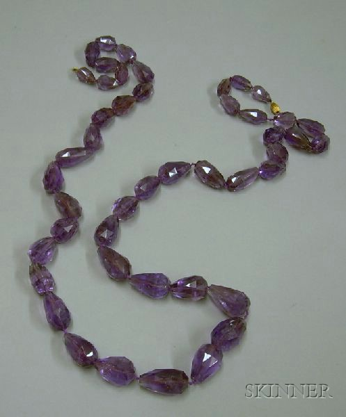Faceted Purple Quartz Graduated Bead Necklace