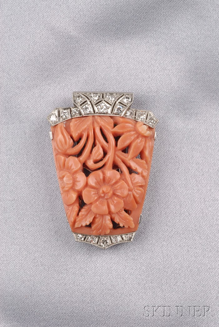 Art Deco Platinum, Coral, and Diamond Clip