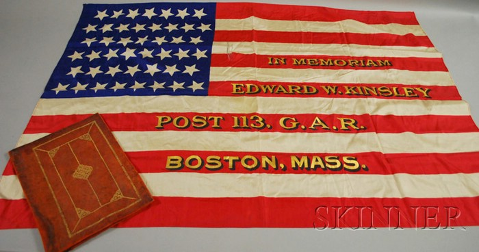 Leather-cased Printed and Painted Silk G.A.R. Memorial American Flag