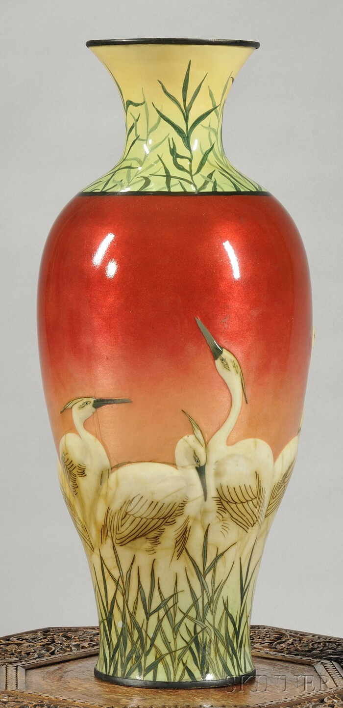 Japanese Baluster-form Enameled Vase
