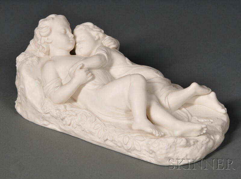 Minton Parian Babes in the Woods   Figure Group