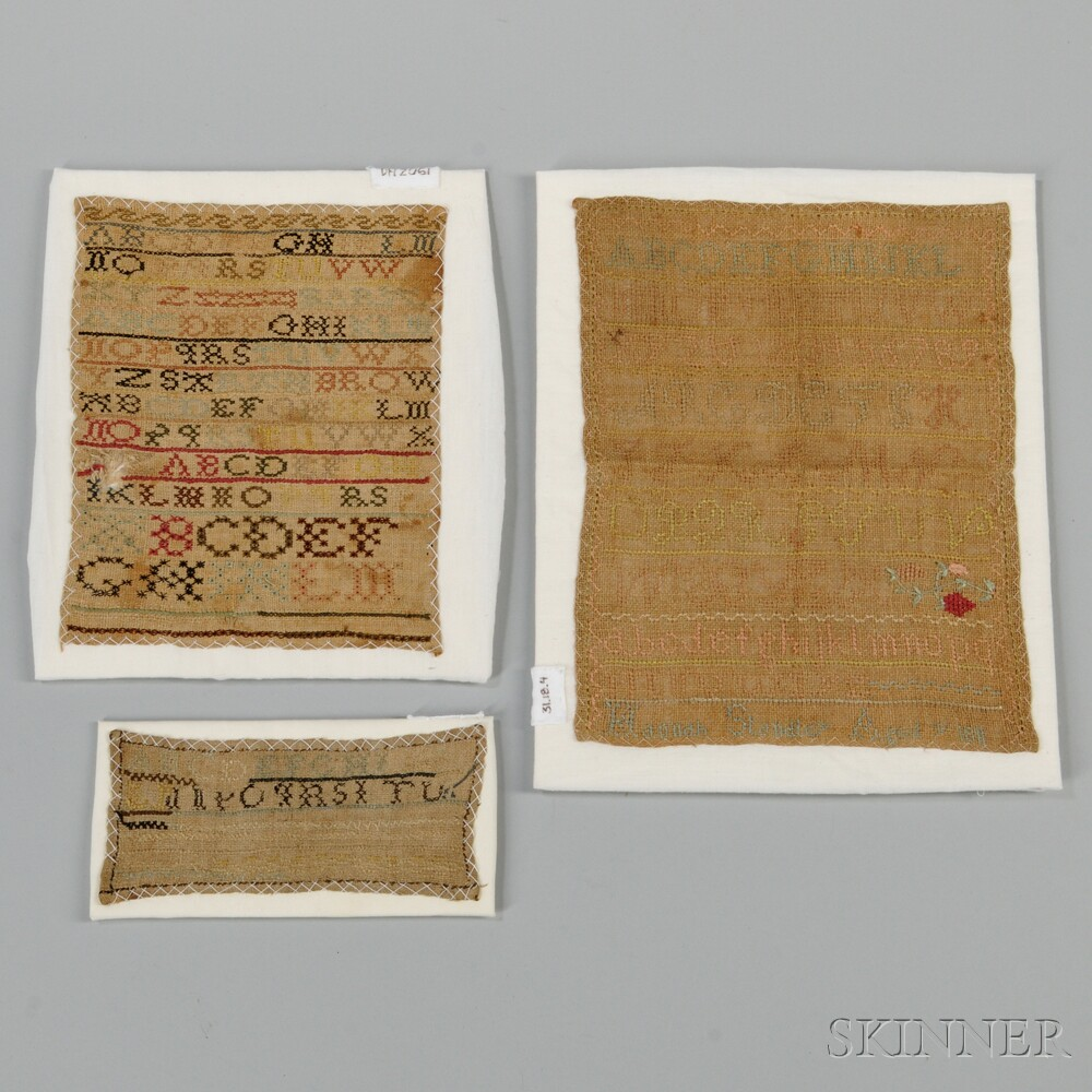 Three Needlework Samplers and a Hollow-cut Silhouette