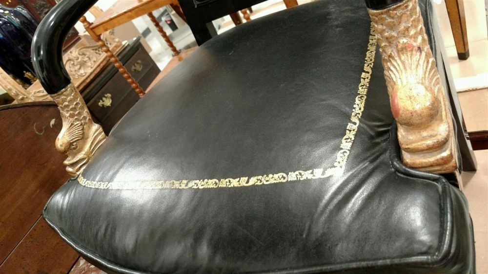 Louis XV-style Ebonized and Ormolu-mounted Table á Ecrire and an Empire-style Fauteuil