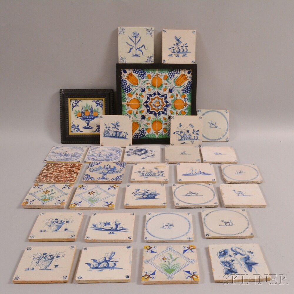 Group of Mostly Delft Tiles