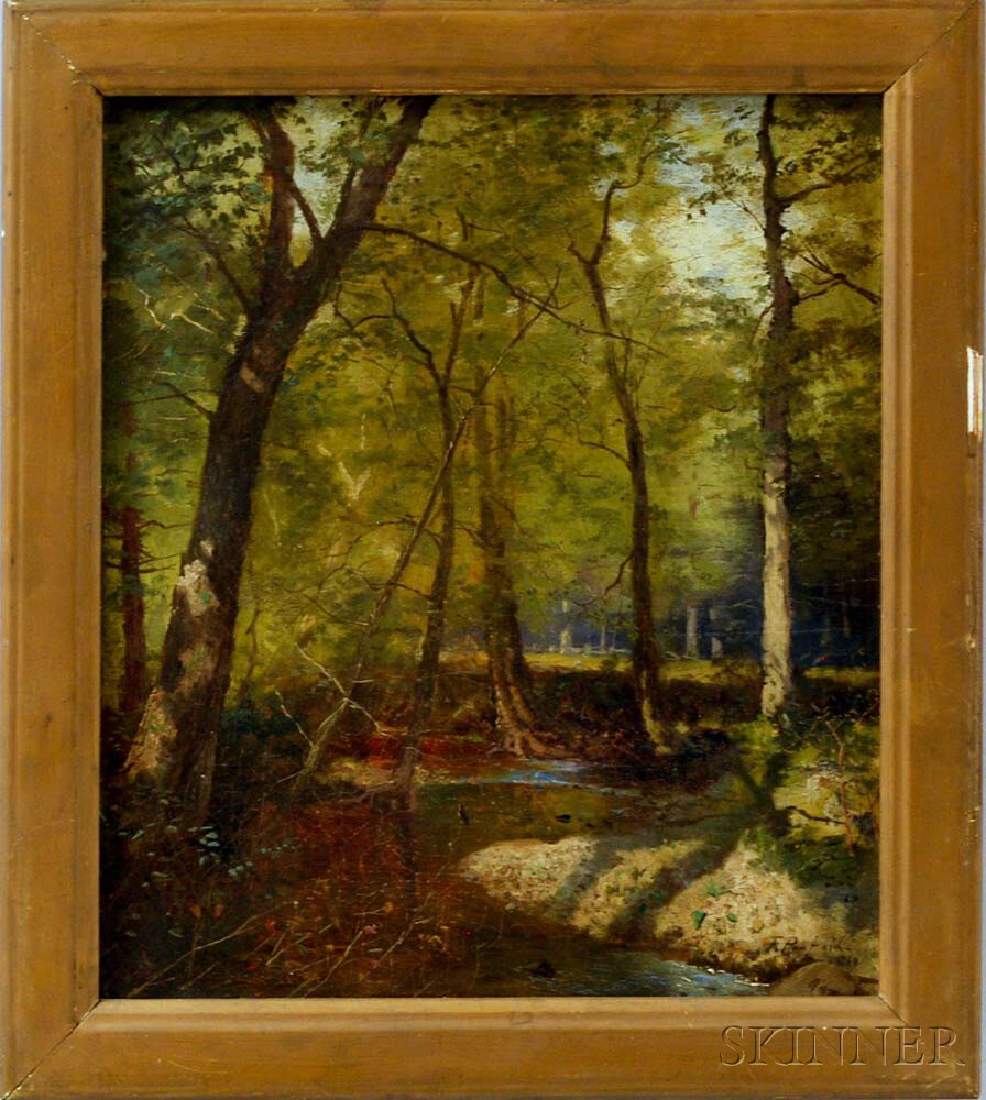 Frank Penfold (American/French, 1849-1921)       Forest Scene with Creek.