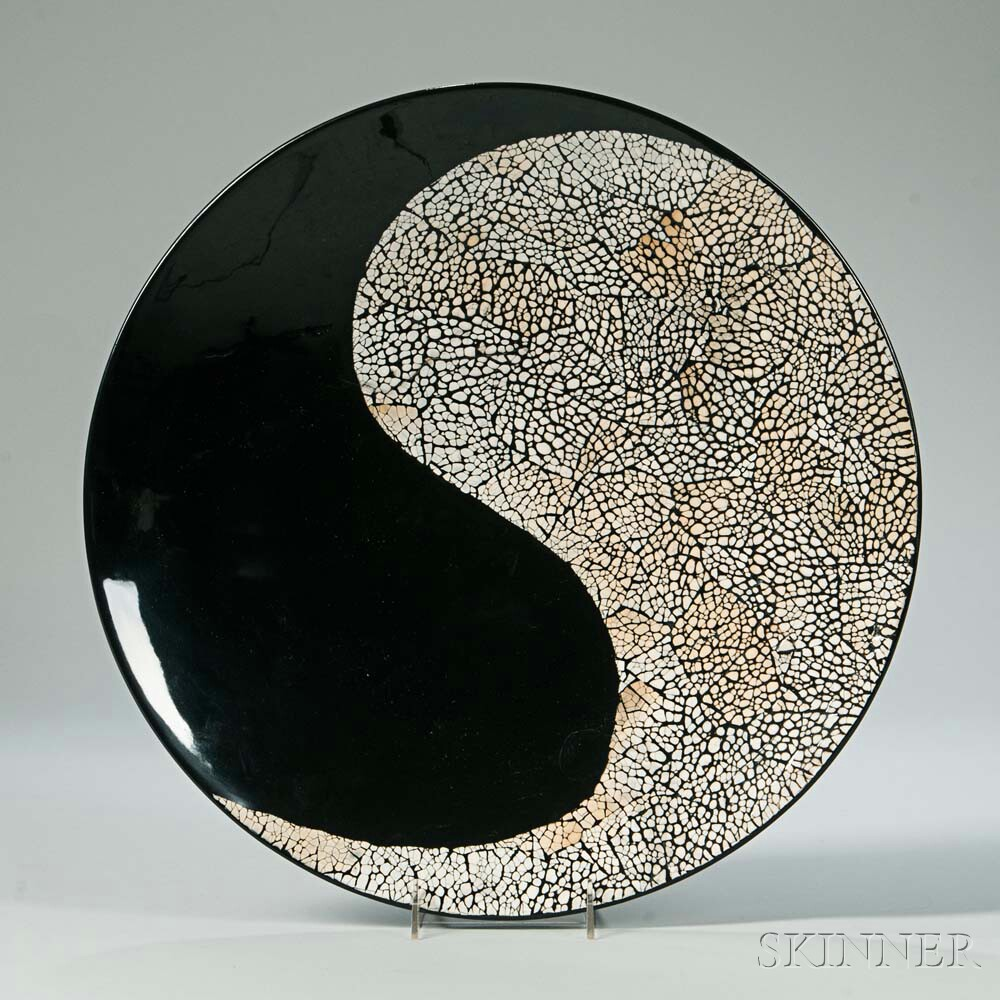 Large Yin-Yang Lacquer Charger