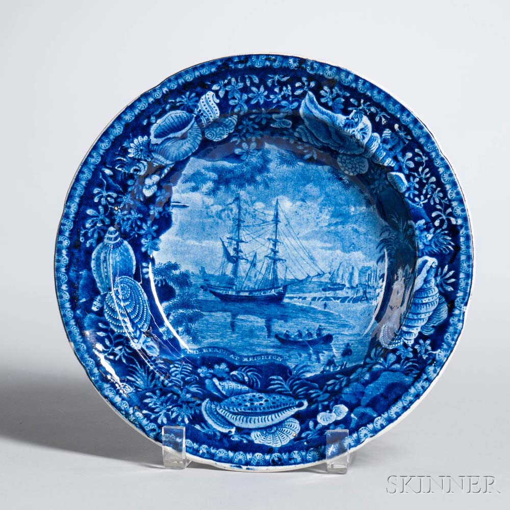 Staffordshire Historical Blue Transfer-decorated The Beach at Brighton Soup Plate