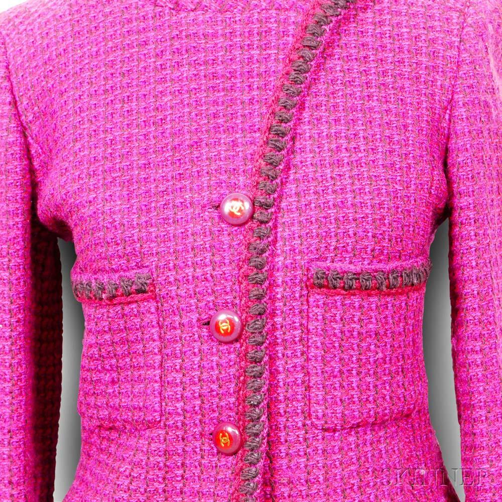 Chanel Fuchsia Woven Jacket
