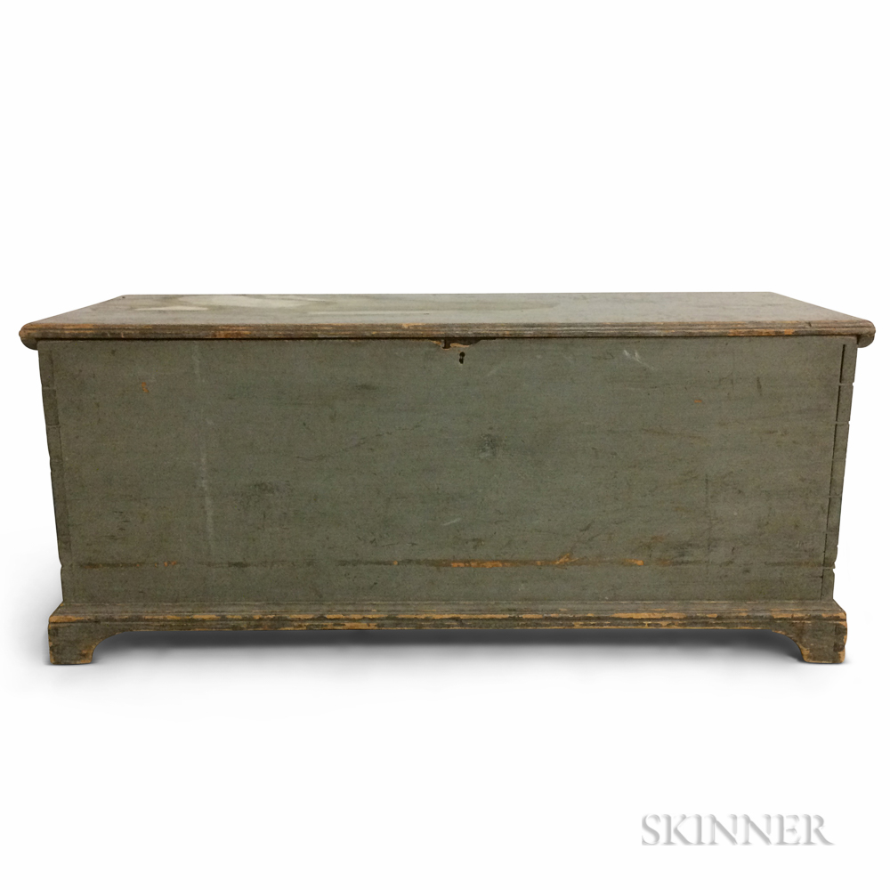 Blue/Gray-painted Pine Six-board Chest