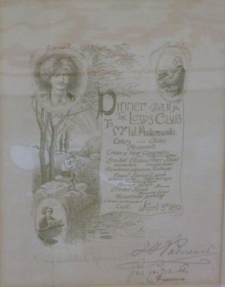 Framed I. J. Paderewski Autographed 1893 Lotos Club Engraved Tribute Dinner Menu