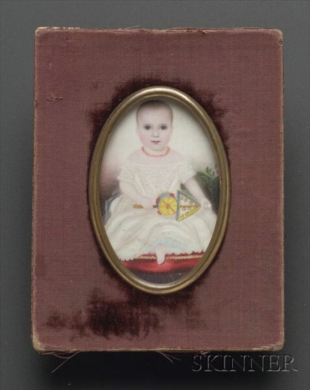 Portrait Miniature of a Young Child with a Rattle