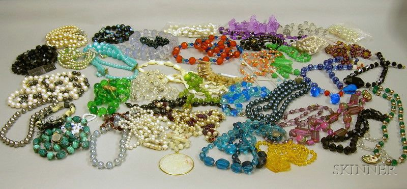 Large Lot of Assorted Costume Beaded Necklaces.