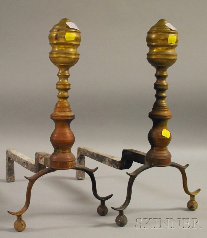 Pair of Brass Ring-turned Andirons