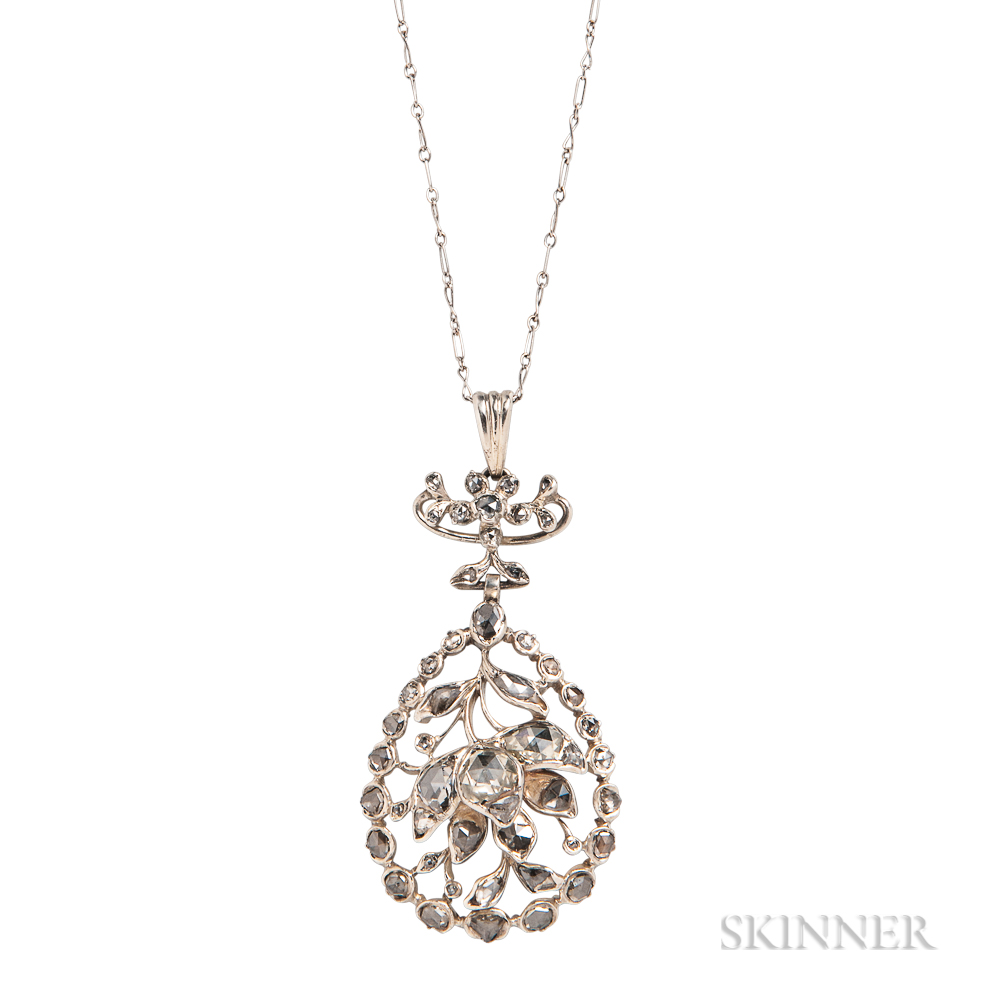 Silver and Rose-cut Diamond Pendant