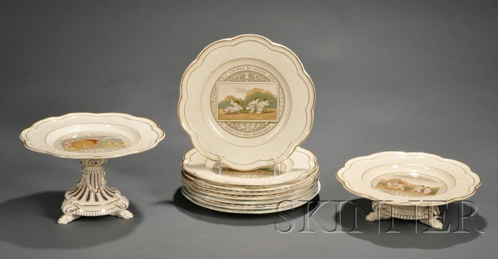 Assembled Ten-piece Wedgwood Queen's Ware Butterfly Tremblay Service