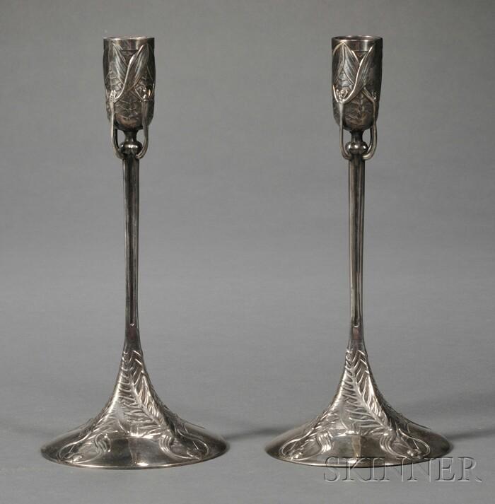 Pair of Art Nouveau Silver-plate Candlesticks