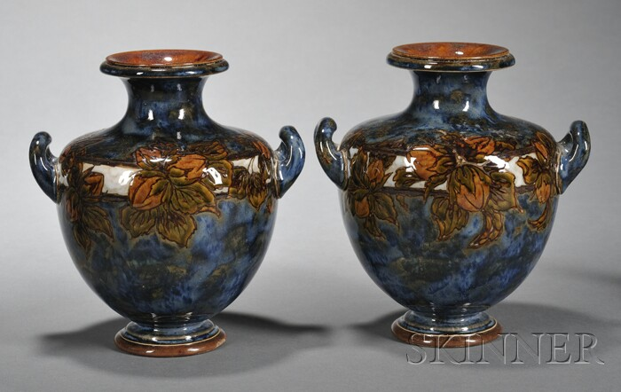 Pair of Royal Doulton Eliza Simmance Decorated Stoneware Vases