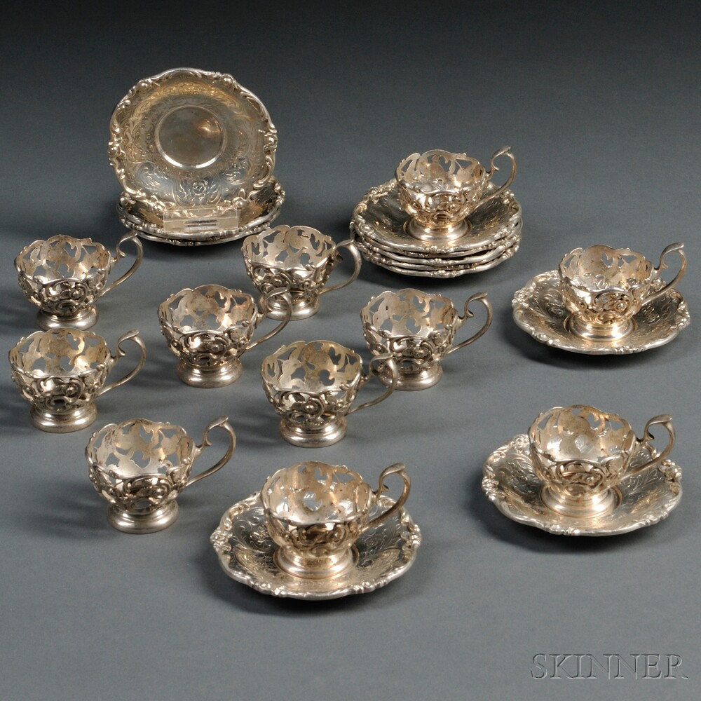 Set of Bailey Banks & Biddle Sterling Silver Demitasse Cups and Saucers