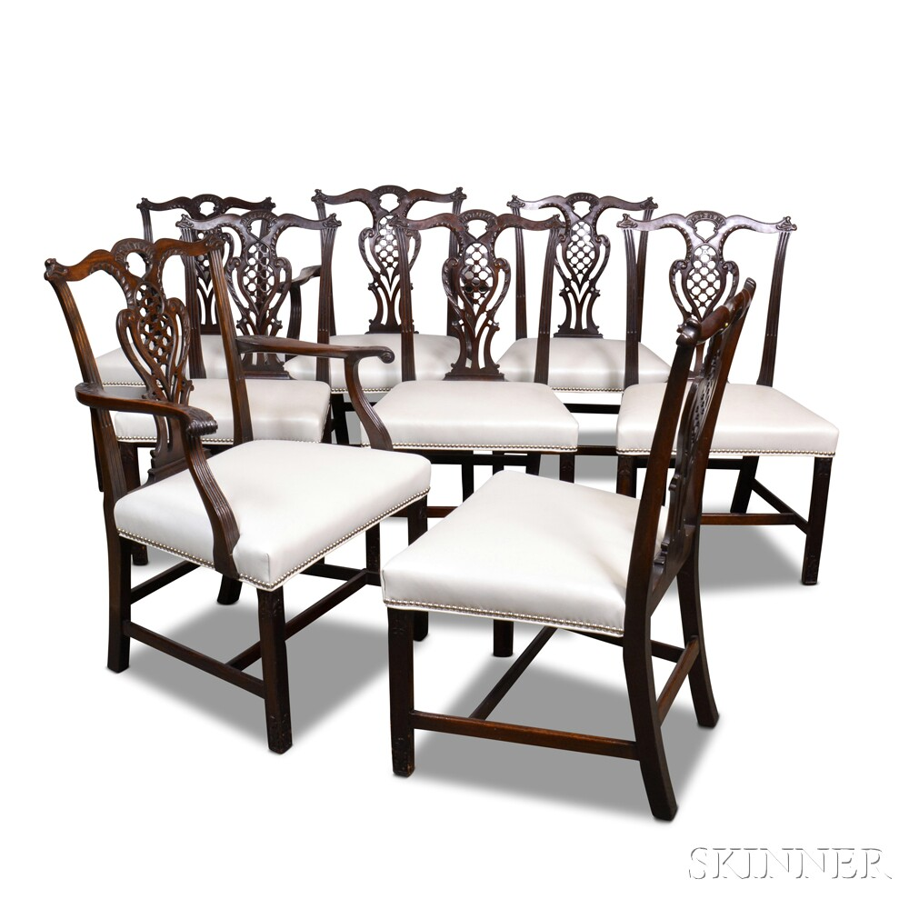 Set of Eight Chippendale-style Carved Mahogany Dining Chairs.     Estimate $800-1,200