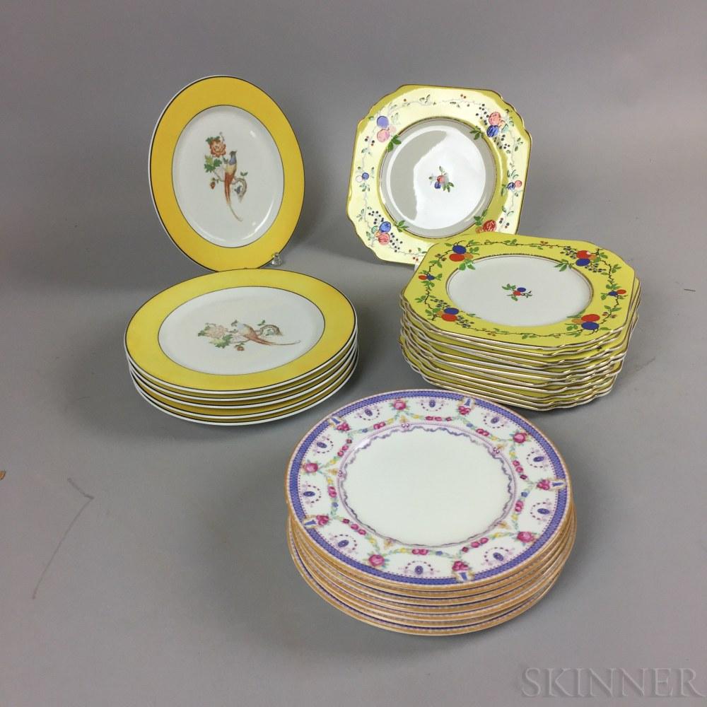 Group of Wedgwood, Cauldon, and Syracuse Porcelain Plates
