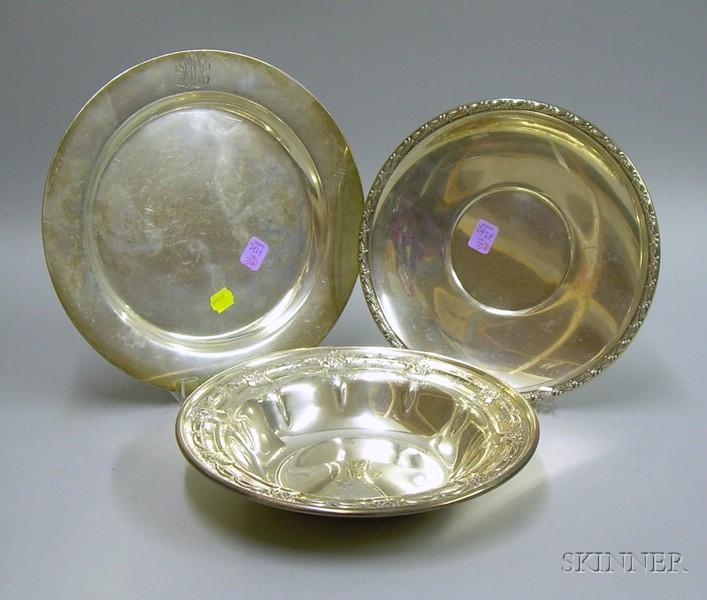 Three American Sterling Plates