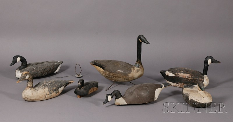 Seven Carved and Painted Waterfowl Decoys